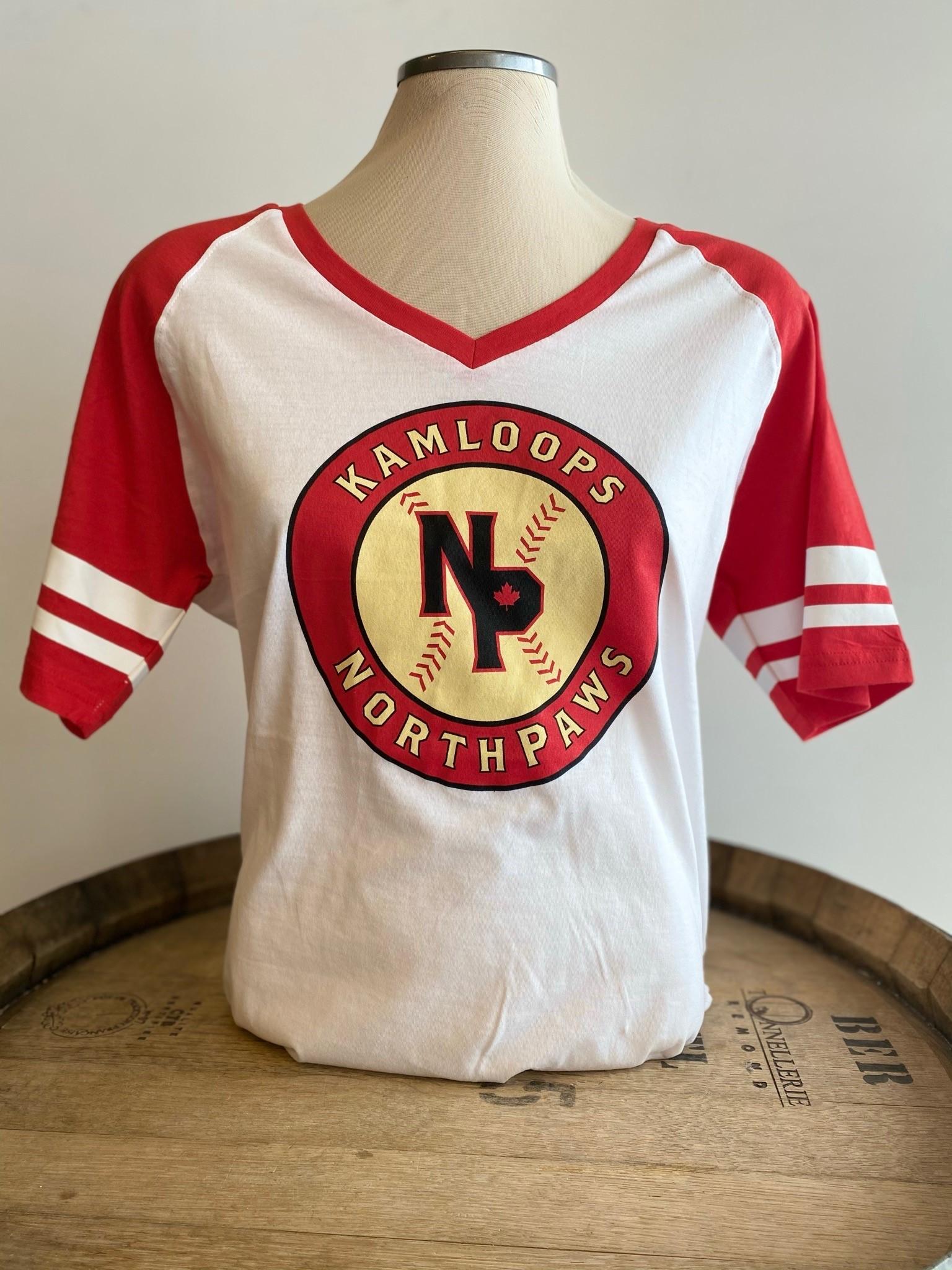 NorthPaws Women's Red & White Baseball Tee